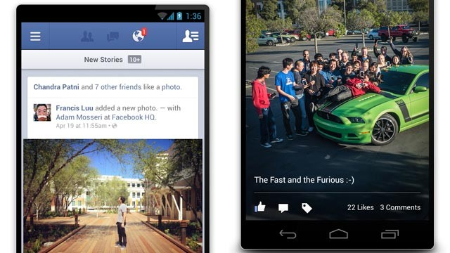 PHOTO: Facebook's Android app was refreshed with speed enhancements.