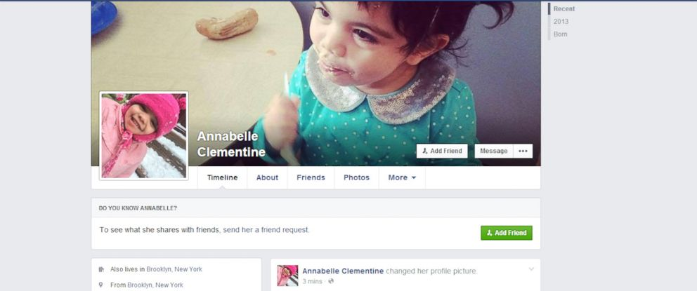 PHOTO: Clementine, 2, has a Facebook page that her mother runs for her.