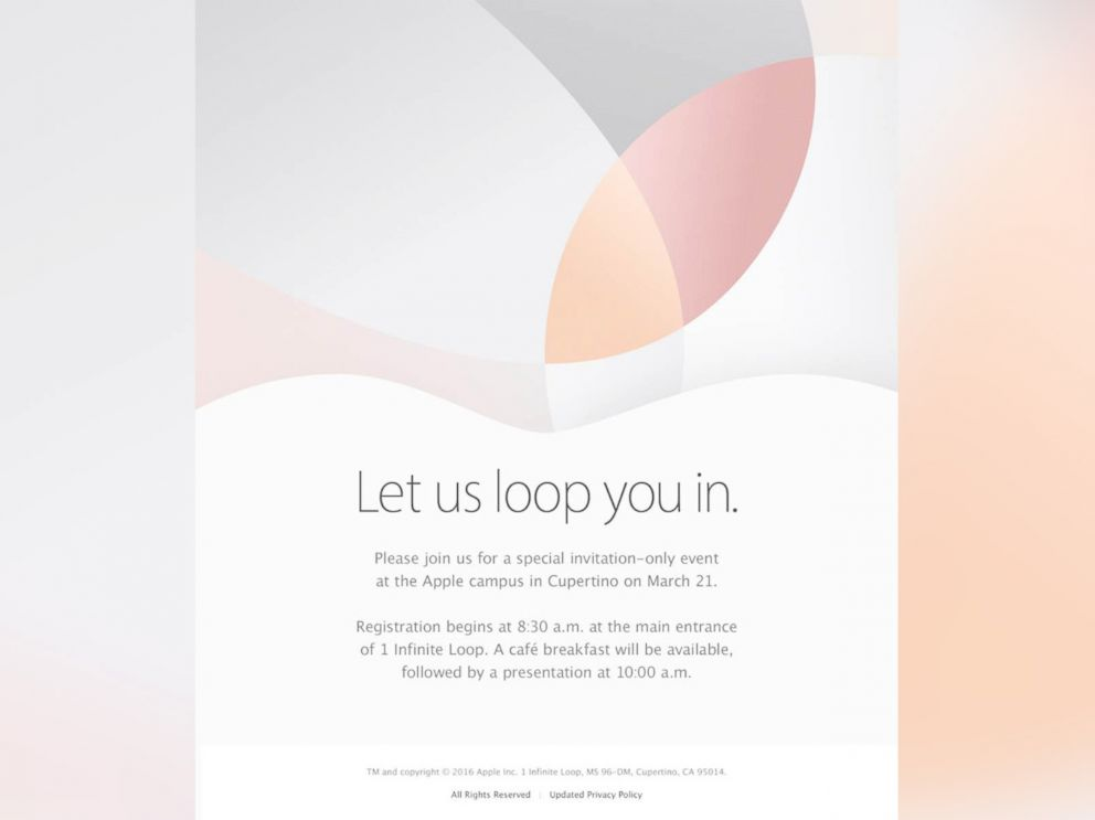 PHOTO: On March 10, 2016, Apple announced an invitation-only event at the Apple campus in Cupertino, Calif. on March 21.