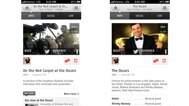 PHOTO: Zeebox, an app for Android and iOS, brings in a social stream of Oscar chatter.