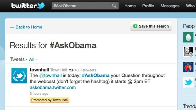 PHOTO:&nbsp;A Presidential Town Hall will be held Twitter, July 6, 2011.