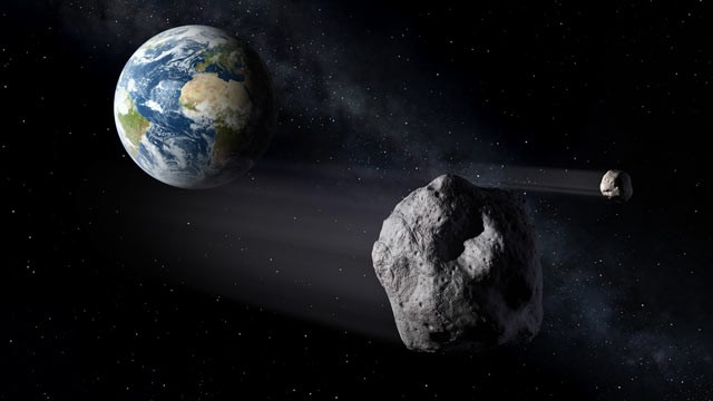 PHOTO: An asteroid near planet Earth can be seen in this illustration provided by the ESA.