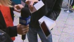 PHOTO: Channel 9 Australia was interviewing the first man to buy an iPhone 6 in Perth when he accidentally dropped the phone on Sept. 19, 2014.