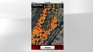 PHOTO The Bed Bug Alert iPhone application lets users report and search for bed bug infestations in their area. This screen grab shows reported bed bug outbreaks in the Manhattan area.