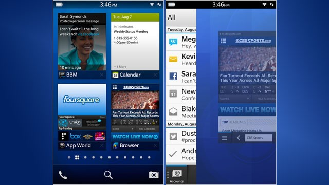 PHOTO: RIM's forthcoming BlackBerry 10 software will include a new homescreen and notifications.