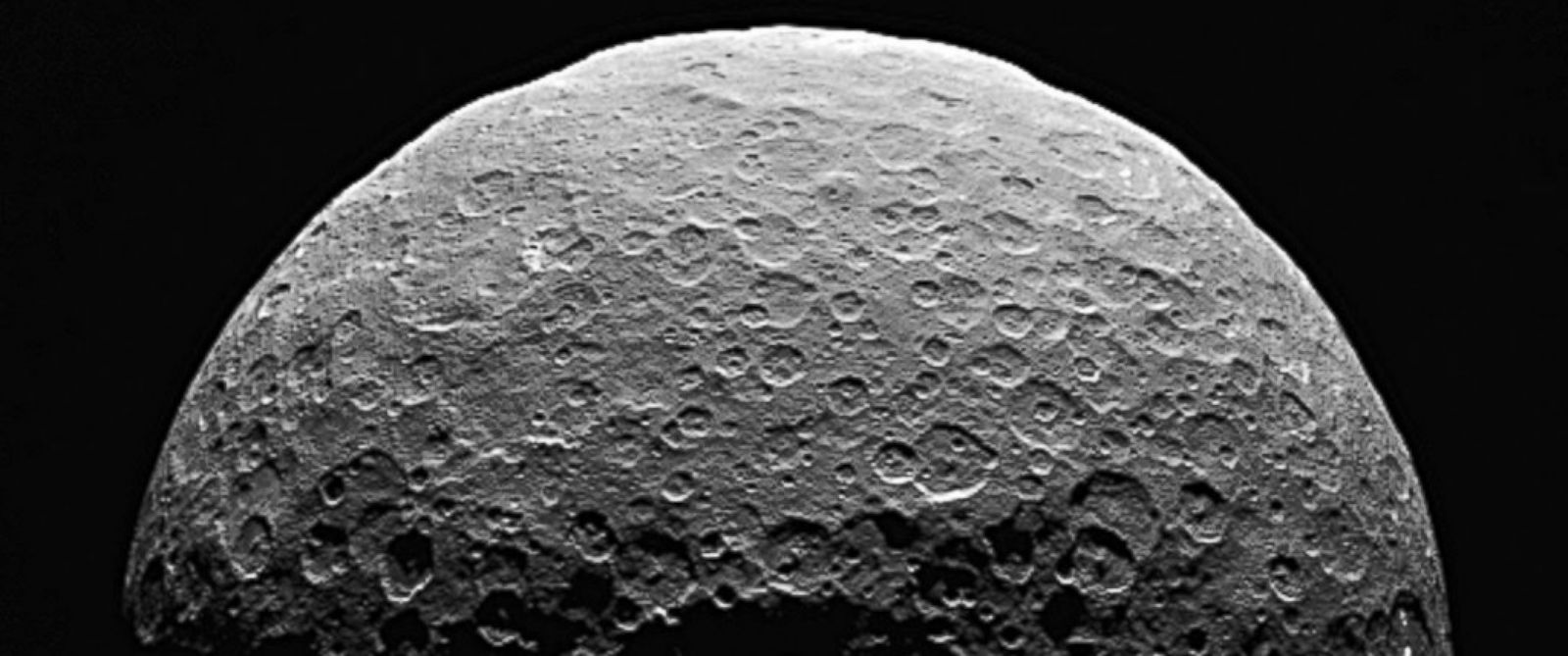PHOTO: An image released by NASA shows the sunlit side of the dwarf planet Ceres as seen by NASAs Dawn spacecraft in April, 2015.