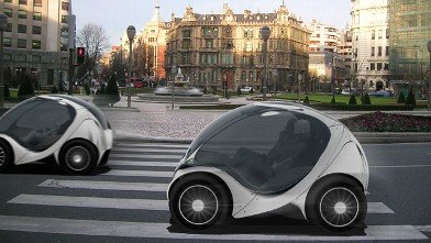 PHOTO: The Hiriko is an electric two-seater with no doors whose motor is located in the wheels and folds up like a child's collapsible stroller.