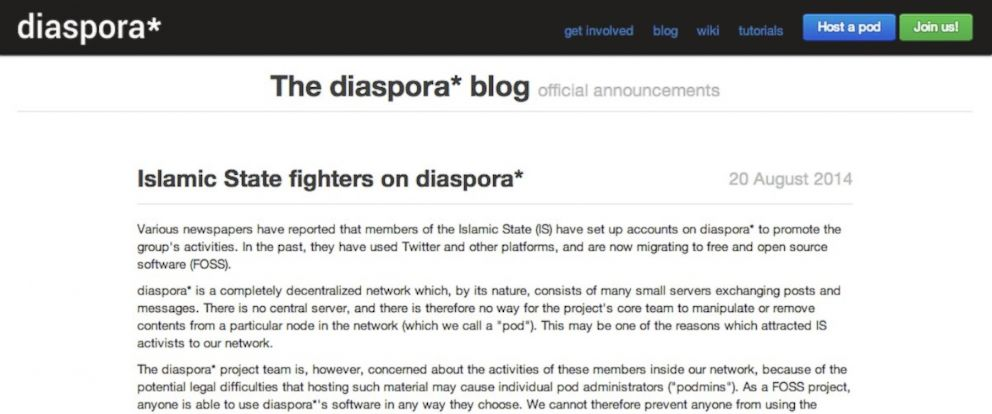 PHOTO: A post on the Diaspora blog warning of possible ISIS using their site.