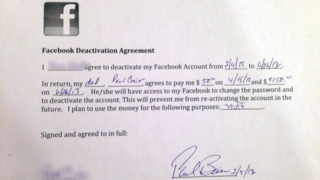 abcnews reports dad paying 14-year daughter quit facebook