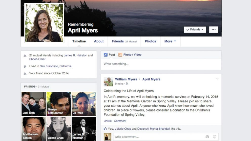 ... Facebook on Feb. 12, 2015 shows their redesigned memorial Facebook