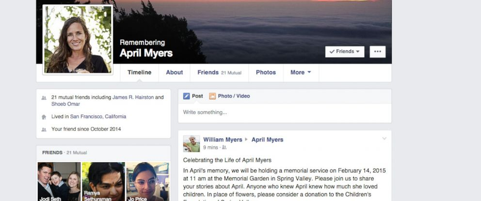 PHOTO: A screen grab released by Facebook on Feb. 12, 2015 shows their redesigned memorial Facebook profile page.