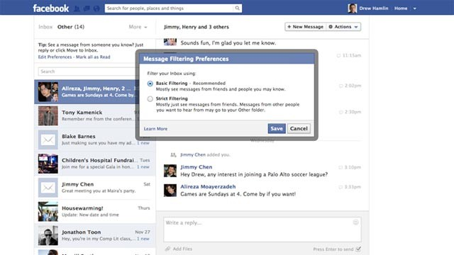 PHOTO: Facebook is testing messaging options, including one that lets people you don't know send you a message for a $1.