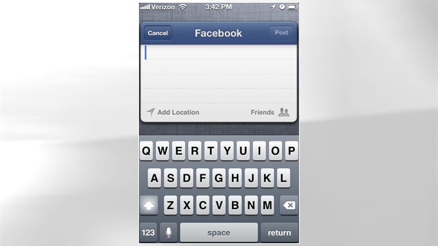 PHOTO: In iOS 6 you can share on Facebook throughout the operating system.