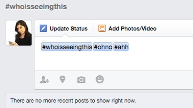 PHOTO: Facebook added clickable hashtags, June 12, 2013.