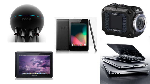 PHOTO: Google Nexus 7 Tablet; Google Nexus Q; Dell XPS 14 and 15 Ultrabooks; JVC Adixxion Camcorder; Modbook Pro Tablet