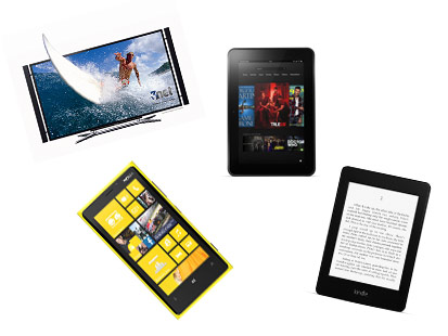 PHOTO: Amazon's Kindle Fire HD, Amazon's Kindle Paperwhite, Nokia's Lumia 920 and Sony's Bravia 4K TV are this week's gadgets.