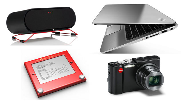 PHOTO: Clockwise from top left: Aperion ARIS speaker, HP Envy Spectre XT, Lecia V Lux 40 point and shoot camera, Etcher.