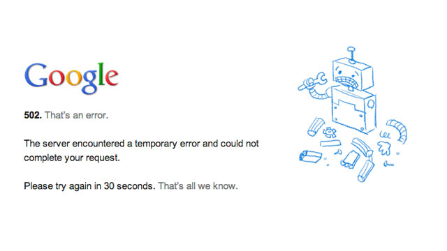 PHOTO: The following message appeared when Gmail and a number of other Google services experience an outage.