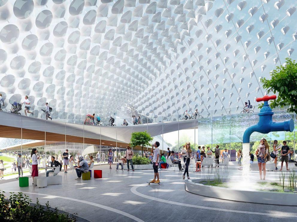 Google reveals plan for futuristic new headquarters abc news for Google house builder