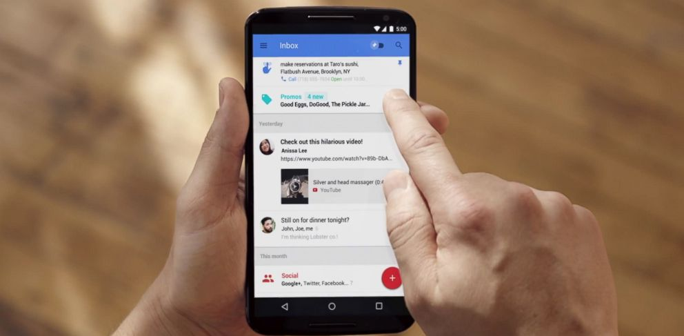 PHOTO: Google Inbox is demonstrated in a video called, The Inbox that works for you posted to YouTube on Oct. 22, 2014.