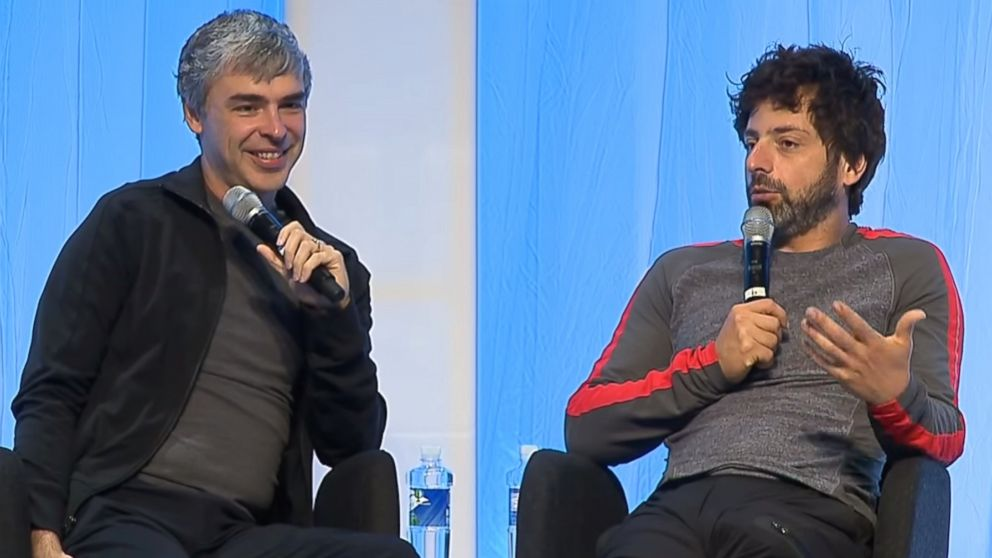 "PHOTO: Google founders Larry Page and Sergey Brin are seen in a video titled, ""Fireside chat with Google co-founders, Larry Page and Sergey Brin with Vinod Khosla"" posted to YouTube on July 3, 2014."