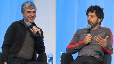 PHOTO: Google founders Larry Page and Sergey Brin are seen in a video titled, Fireside chat with Google co-founders, Larry Page and Sergey Brin with Vinod Khosla posted to YouTube on July 3, 2014.