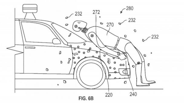 PHOTO: An illustration from a patent application shows the operation of an adhesive that Google hopes will help mitigate injuries when a car strikes a pedestrian.
