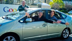 PHOTO: Google executives Eric, Larry and Sergey in a self-driving car.
