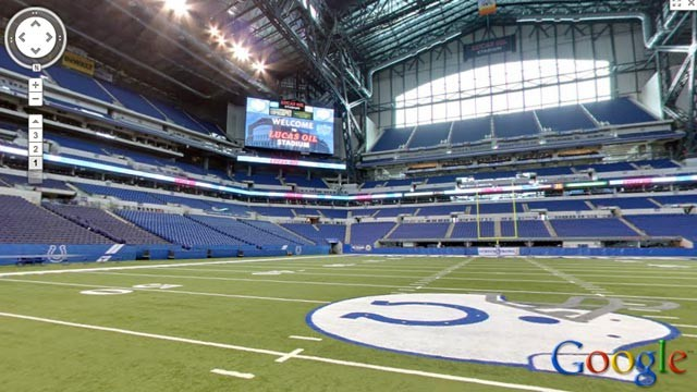 PHOTO: A view of the inside of the Indianapolis Colts Stadium on Google Maps.