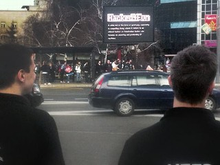 Hackers Play Space Invaders on Billboard