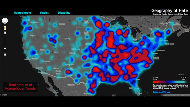 PHOTO: This U.S. map pinpoints hateful speech in tweets.