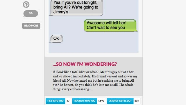 PHOTO: A entry on HeTexted.com, a site that allows others to help women interpret text messages they have received from men.