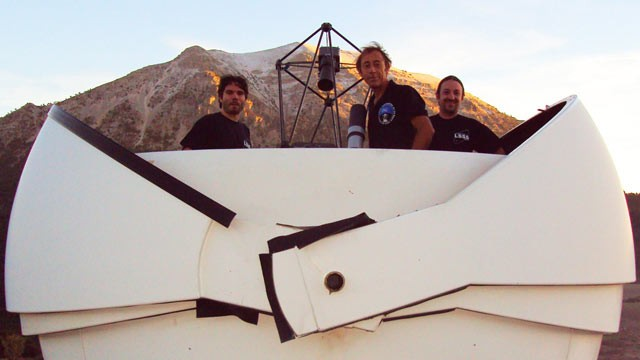 PHOTO: Citizen astronomers Miguel Hurtado, Jaime Nomen, and Jaume Andreu at La Sagra Observatory, Spain. Nomen is given credit for the discovery of the asteroid 2012 DA14.