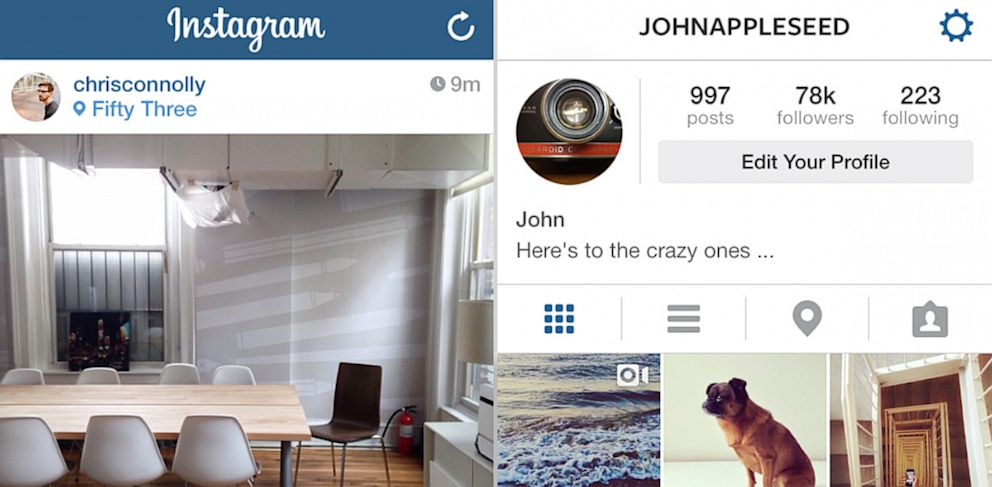 Instagrams new iOS 7 app. PHOTO: