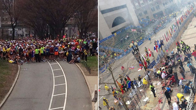 PHOTO: In this photo posted on Twitter by Mike Crockett, runners are seen stopped after two explosions occurred near the end of the Boston Marathon.