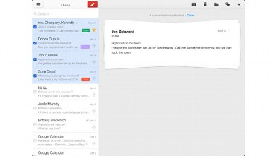 PHOTO: Google's Gmail app for the iPad makes it easy to flip through messages and star them.