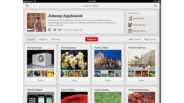 PHOTO: Pinterest for the iPad lets you collect items and put them on your boards.