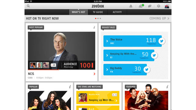 PHOTO: Zeebox's app for the iPad lets you see what others are watching on TV and watch episodes right in the app.