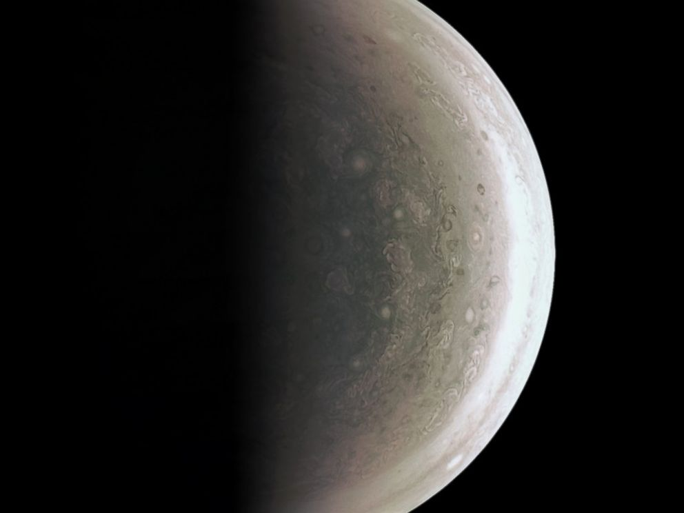 PHOTO: The JunoCam instrument acquired this view of Jupiters south polar region about an hour after closest approach on Aug. 27, 2016, when the spacecraft was about 58,700 miles above the cloud tops.