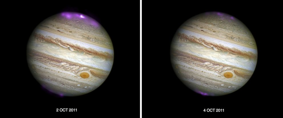 """PHOTO: According to NASA, solar storms are creating X-ray auroras on Jupiter that are """"about eight times brighter than normal over a large area of the planet and hundreds of times more energetic than Earth's northern lights."""""""