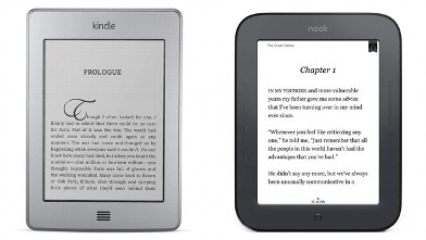 PHOTO: The Amazon Kindle Touch pictured left, Barnes & Noble Nook Simple Touch pictured right.