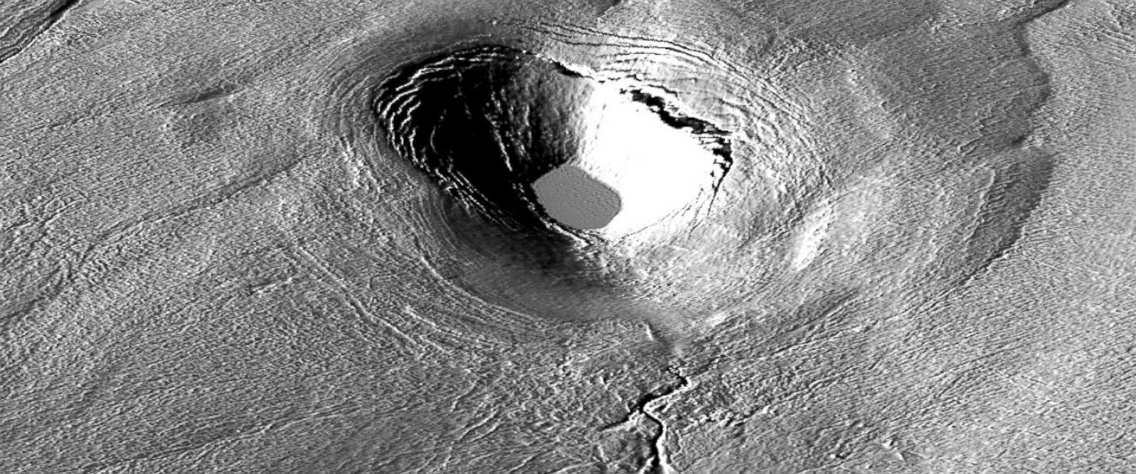 PHOTO: Researchers at The Ohio State University were creating the highest-resolution maps of the Greenland Ice Sheet made to date, when they discovered a crater, shown here, which had once been the site of a sub-glacial lake.