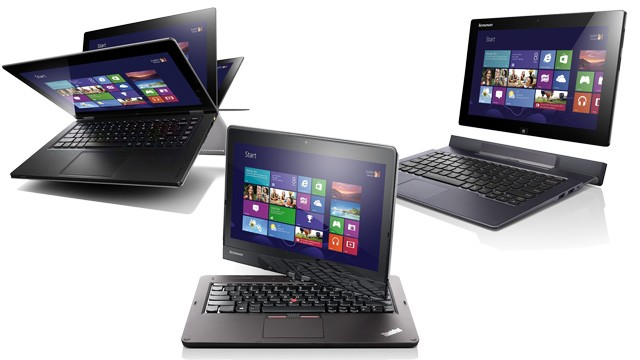 PHOTO: Lenovos Windows 8 IdeaPad Yoga, ThinkPad Twist and Lynx convertibles have touchscreens and keyboards.