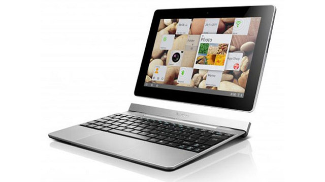 PHOTO: The Lenovo IdeaTab S2110 is an Android 4.0 tablet with a dockable keyboard.
