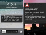 PHOTO: Wireless Emergency Alerts appear on the Verizon Galaxy Nexus and iPhone 4 during a blizzard.