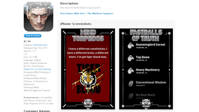 "PHOTO: Charlie Sheen debuts ""The Masheen"" iPhone app on iTunes."