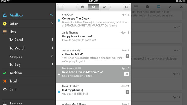 PHOTO: Mailbox released its popular e-mail app for the iPad.