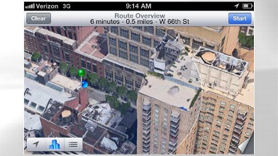 PHOTO: Apple's Maps app in iOS 6 has turn-by-turn navigation and a 3D view.