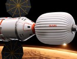 PHOTO: Artists conception of a ship that entrepreneurs say they hope would take two astronauts -- a married couple -- on a flight past Mars in 2018.