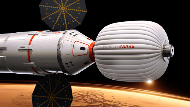 PHOTO: Artist's conception of a ship that entrepreneurs say they hope would take two astronauts -- a married couple -- on a flight past Mars in 2018.